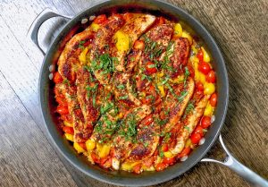 One-Skillet Tomato Basil Chicken
