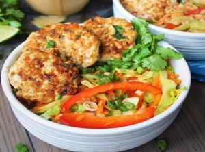 Thai Chicken Patties with a Crunchy Peanut Sauce